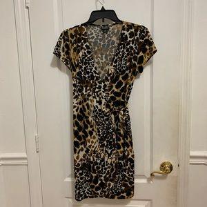Leopard Print Tie Wrap Dress Womens Size 6p